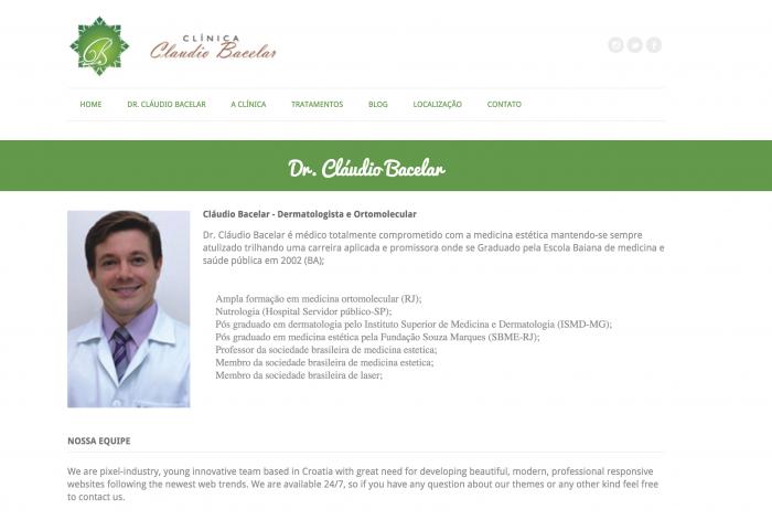 Página sobre do site da Clínica Claudio Bacelar
