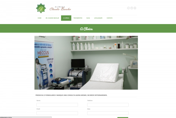 Página a clínica do site da Clínica Claudio Bacelar