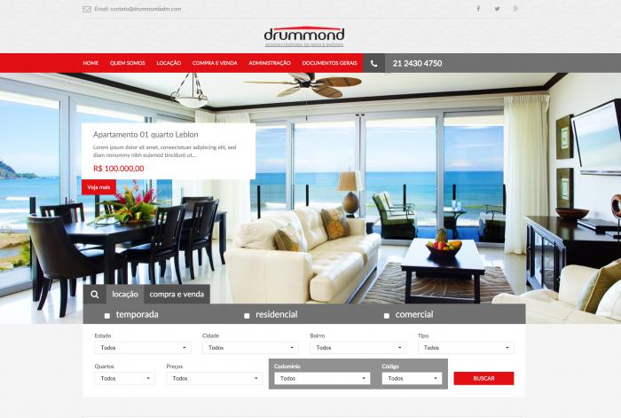 Página principal do site da Drummond Imobiliária