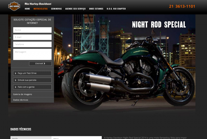 Página de detalhes das motos do site Rio Harley-Davidson