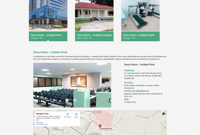 Página de unidades do site do Grupo SH Brasil