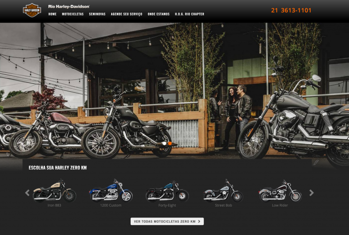 Página principal do site Rio Harley-Davidson