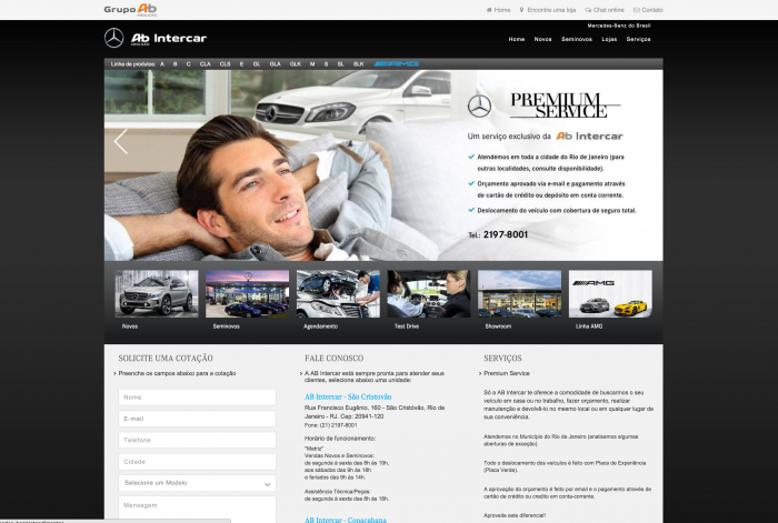 Página principal do site AB Intercar Mercedes-Benz