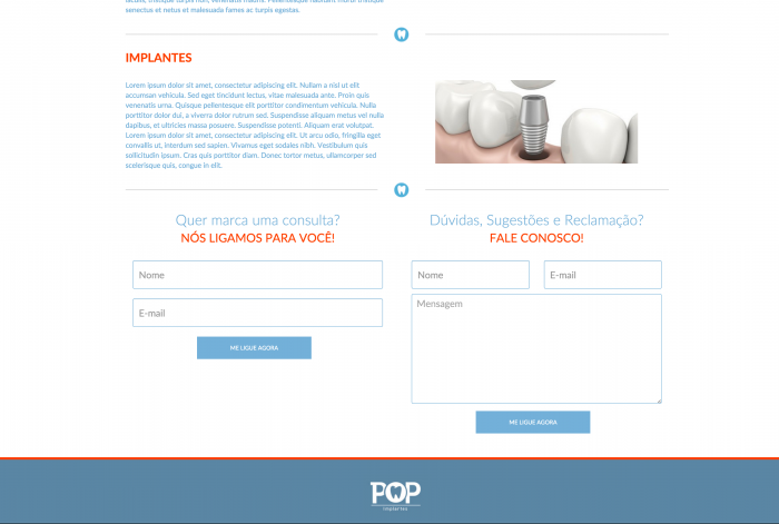 Página principal do site da POP Implantes